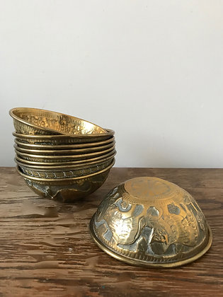 9 Kashmiri Brass Finger Bowls
