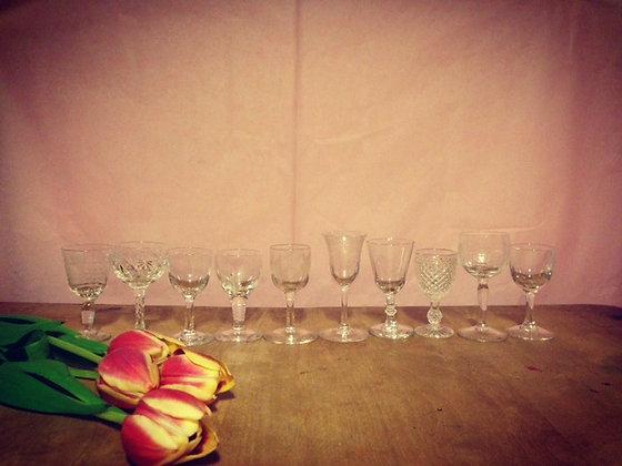 10 Decorative Antique Liqueur Glasses