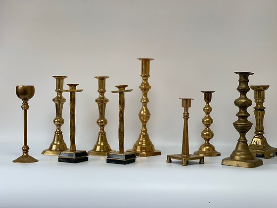 Set of Ten Brass Candlesticks, Varying Ages
