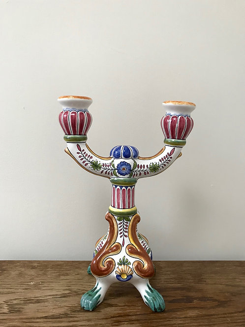Vintage Filcer Hand Painted Ceramic Two Arm Candelabra Made In Portugal