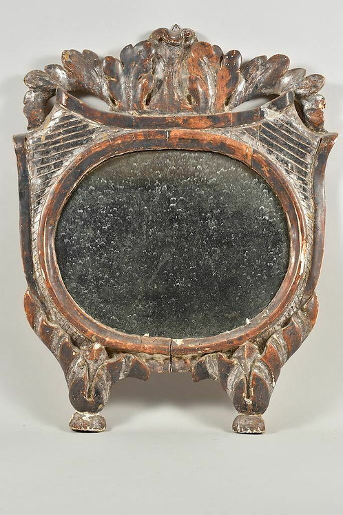 19th Century Mirror, German, Carved Wood