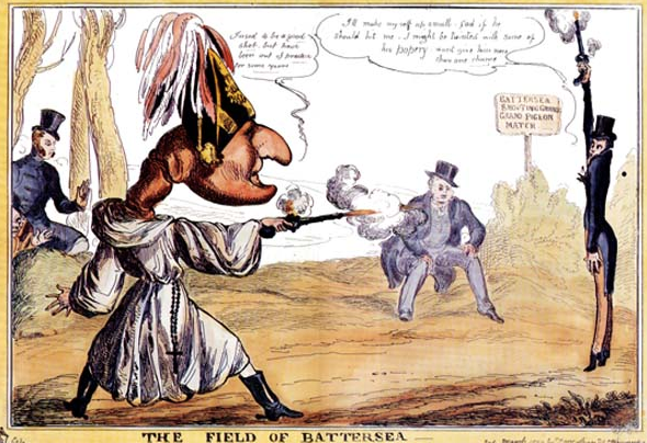 Caricature by W. Heath of the duel between the Duke of Wellington and the Earl of Winchilsea