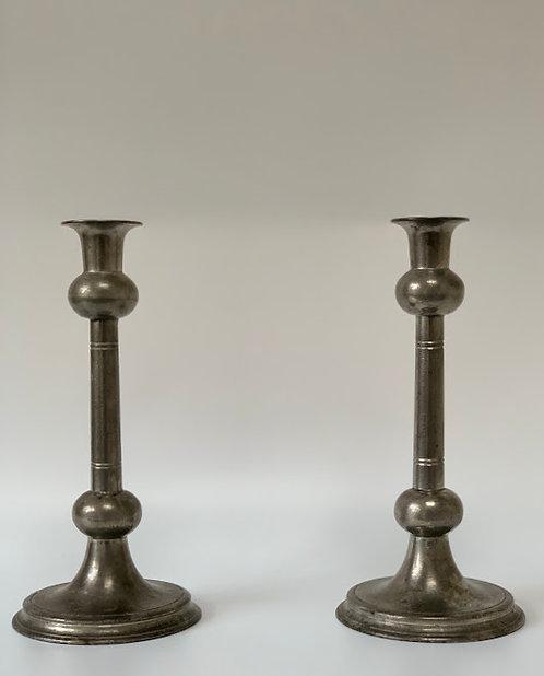 19th Century James Yates Pewter Candlesticks