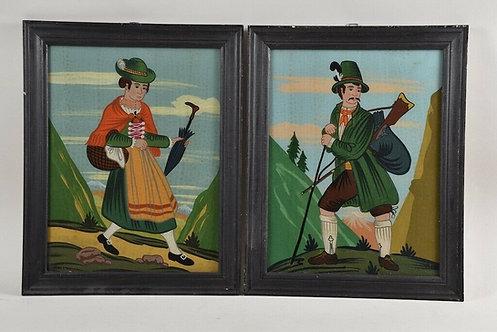 Pair of German Reverse Glass Paintings