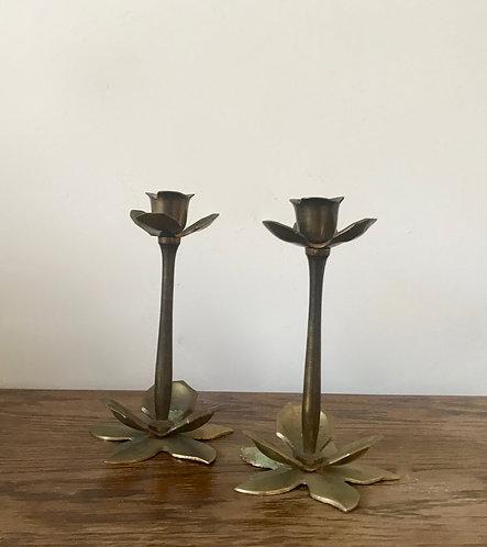 Floral Brass Candlesticks