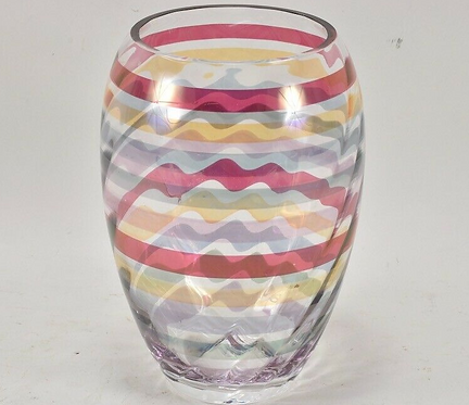 Vintage Glass Striped Vase, German