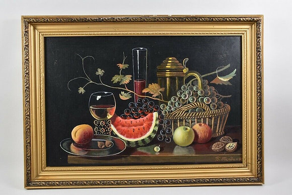 Framed Oil Painting, Singed Cyrillic,1984