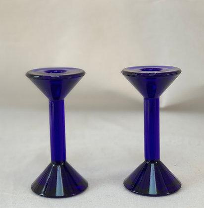 1980s Blue Glass Candlesticks