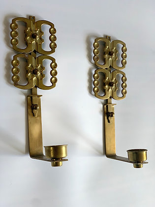 Brass 20th Century Stamped Sconces, Norway