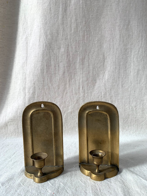 Pair of Solid Brass Sconces