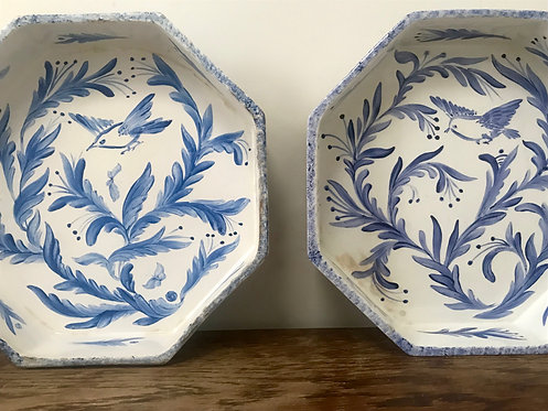 Two Large Innisfree Pottery Octagonal Serving Dishes