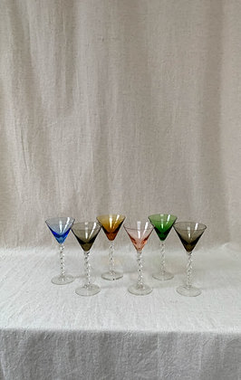 Set of Mid Century Coloured Glasses