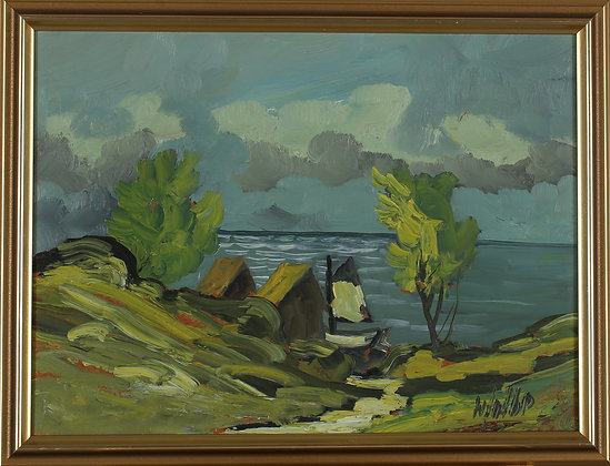 Framed Oil, Landscape, by Nils Golbe