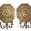 Thumbnail: Pair of Antique Brass Wall Sconces - Sunburst Faces.
