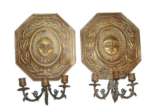 Pair of Antique Brass Wall Sconces - Sunburst Faces.