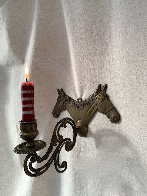 Brass Horse Head Candle Holder
