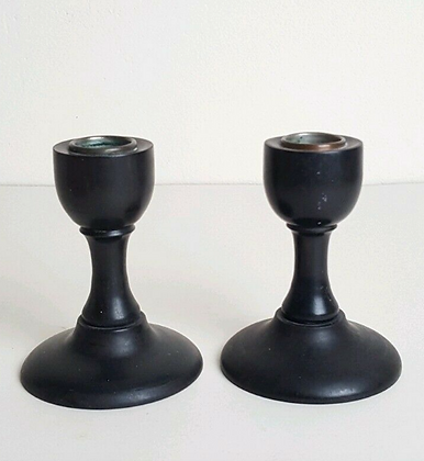 Antique Vintage Pair of Ebony Candlesticks