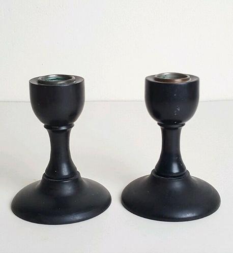 Antique Vintage Pair of Ebony Candlesticks