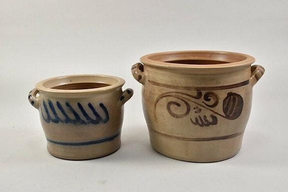 Set of Two Stoneware Lard Pots, German
