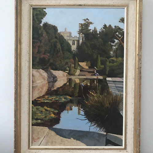 Signed & Framed Mid Century Oil On Board Painting Depicting Manor House & Garden