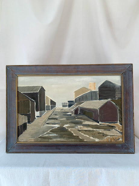 Framed Oil Painting 'Warehouses', Unknown Artist, dated 64