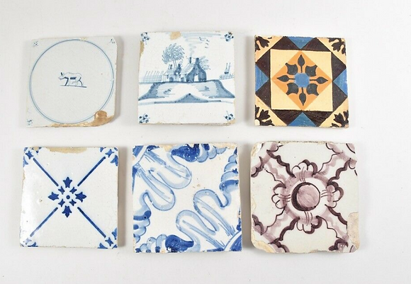 Set of Six Antique 19th Century Tiles