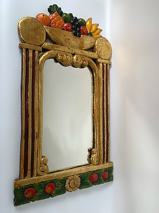 Vintage 1980s Handcrafted Painted Gilt Mirror With Colourful Fruit Basket