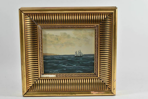 Framed Oil Painting, Seascape, Signed Goth