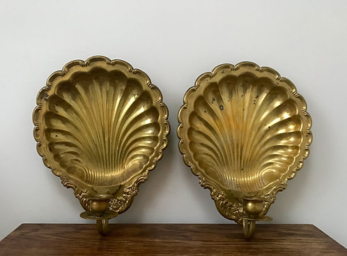 Pair of Ornate Shell Brass Wall Sconces