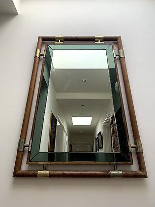 Mid Century Mirror, Wood & Bevelled Edge