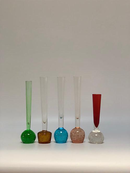Set of Five 1960s Glass Stem Bud Vases