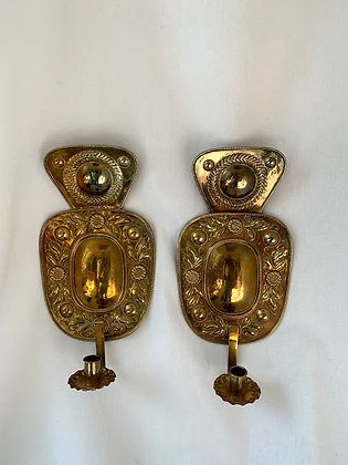 Pair of Swedish Brass Sconces, Signed 1934