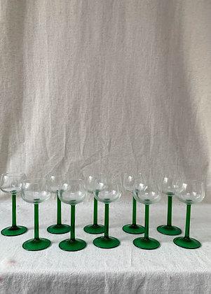 Set of Ten Green Stem Wine Glasses