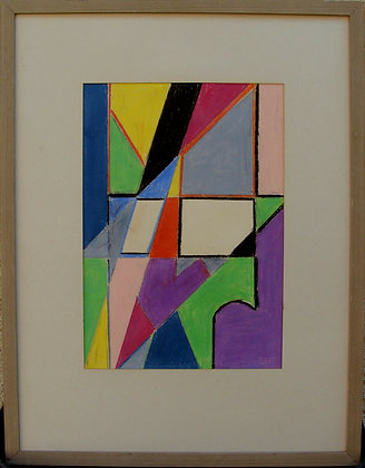 Abstract composition, monogram BE, wax crayon, dated 1956