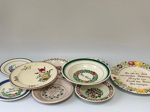 Set of Ten Rural German Plates, Soup Bowls