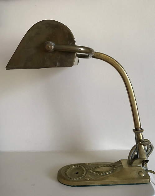 EARLY ENGLISH BRASS BANKER'S LAMP
