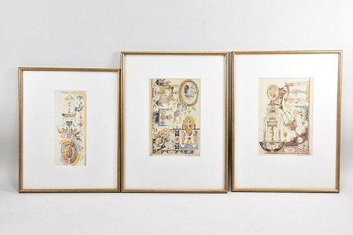 Set of Three Watercolours, Study of a Florentine Fresco, 95'