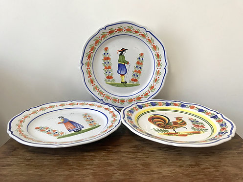 Three Henriot Quimper Wall Plates