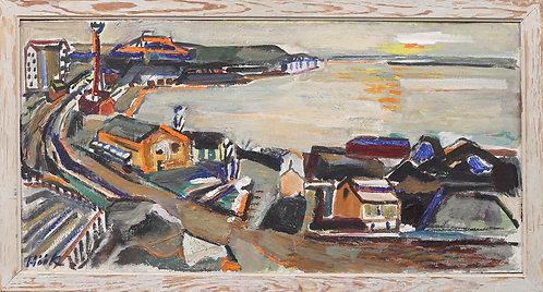 Oil on panel, cityscape, Gunnar Höök