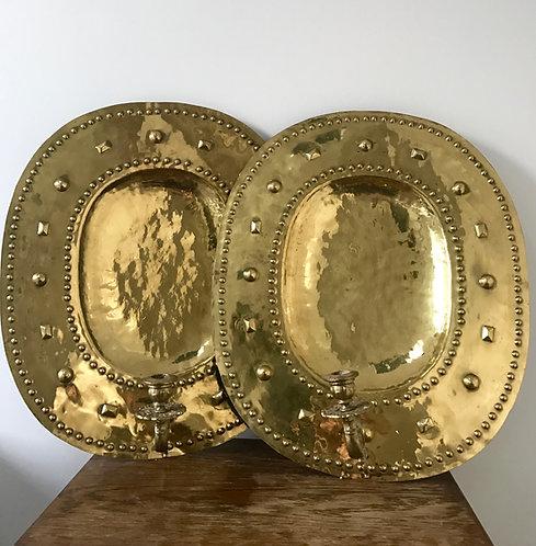 Large Pair of Antique Brass Sconces