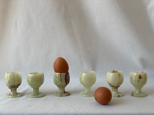 Set Of 6 Beautiful Onyx Egg Cups
