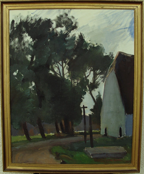 Framed Oil by Aage Handest, Mid Century