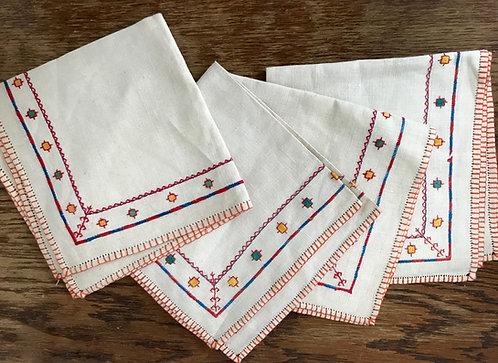 Hand embroidered napkins.