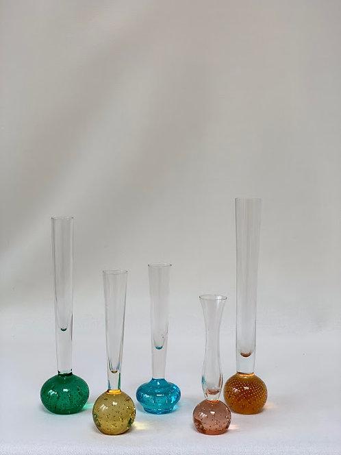 Five 1970s Glass Stem Vases
