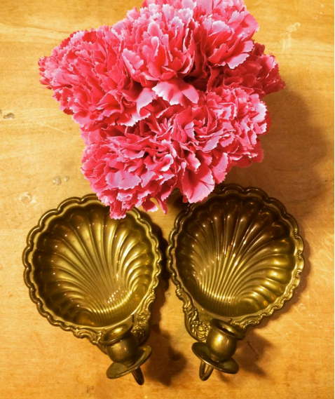 Two Shell Shaped Solid Brass Taper Candle Holders