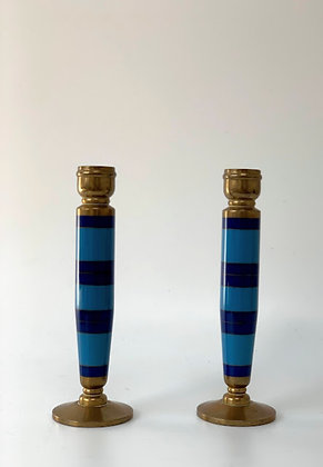 Enamel Striped Candlesticks