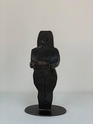 Iron Candlestick/ Sculpture Form of A Woman