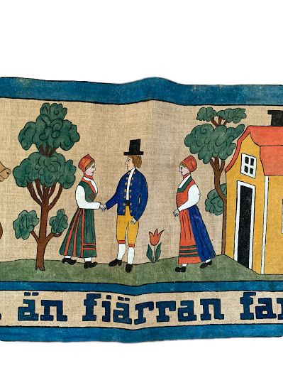 Swedish Hand Painted Textile, Late 19th Century