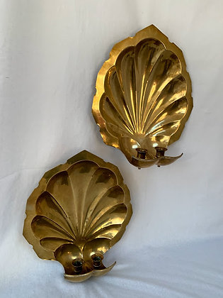 Large Brass Shell Sconces