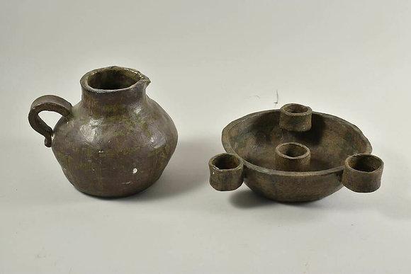 Set of Two Ceramics, One Jug & A Candlestick